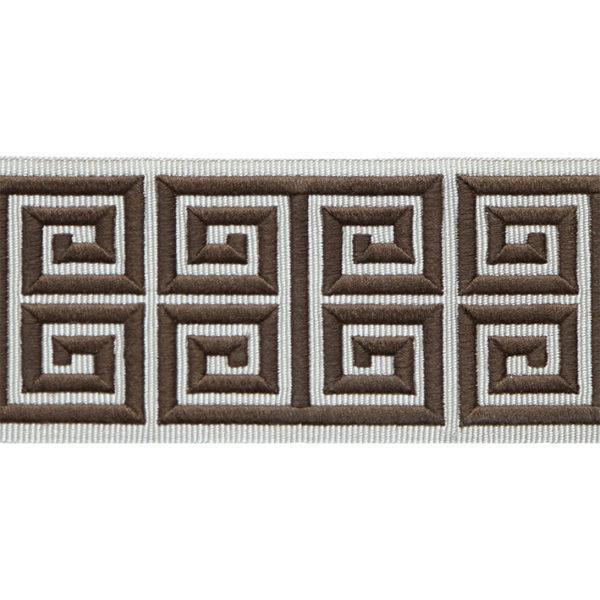 Greek Embroidery Border, Brown & Flax LR