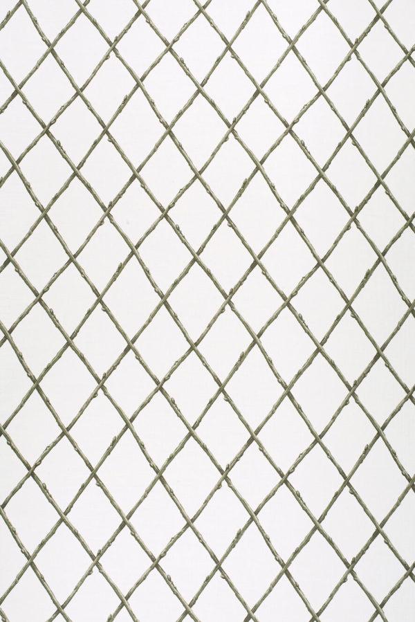 Bare Twig Trellis – Green on White