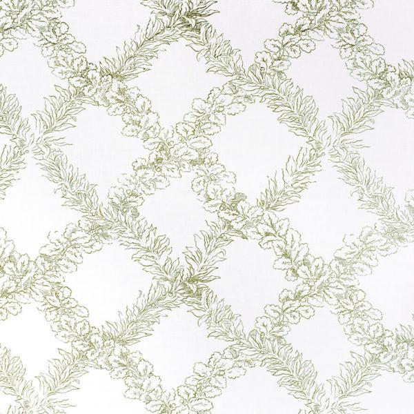 Leaf Trellis – Sage on White