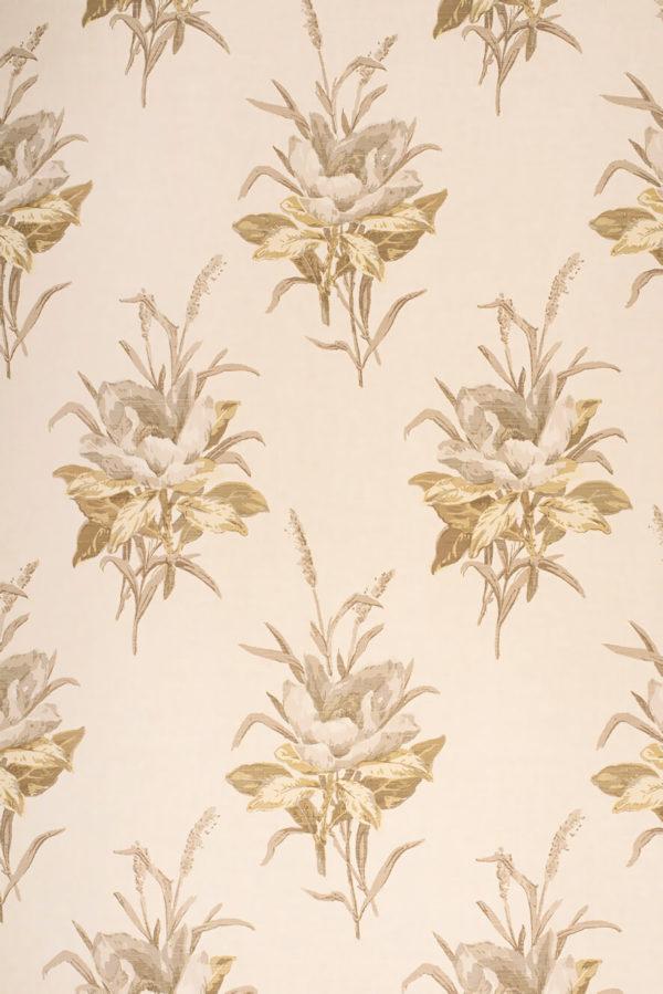 Melba Flower – Grey on Ivory Silk