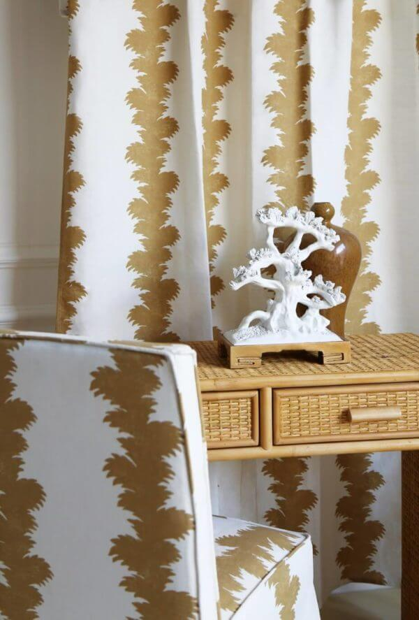 Vignette.Palmyra Ochre.Genoa Chair Loose Cover.Nino Rattan Console