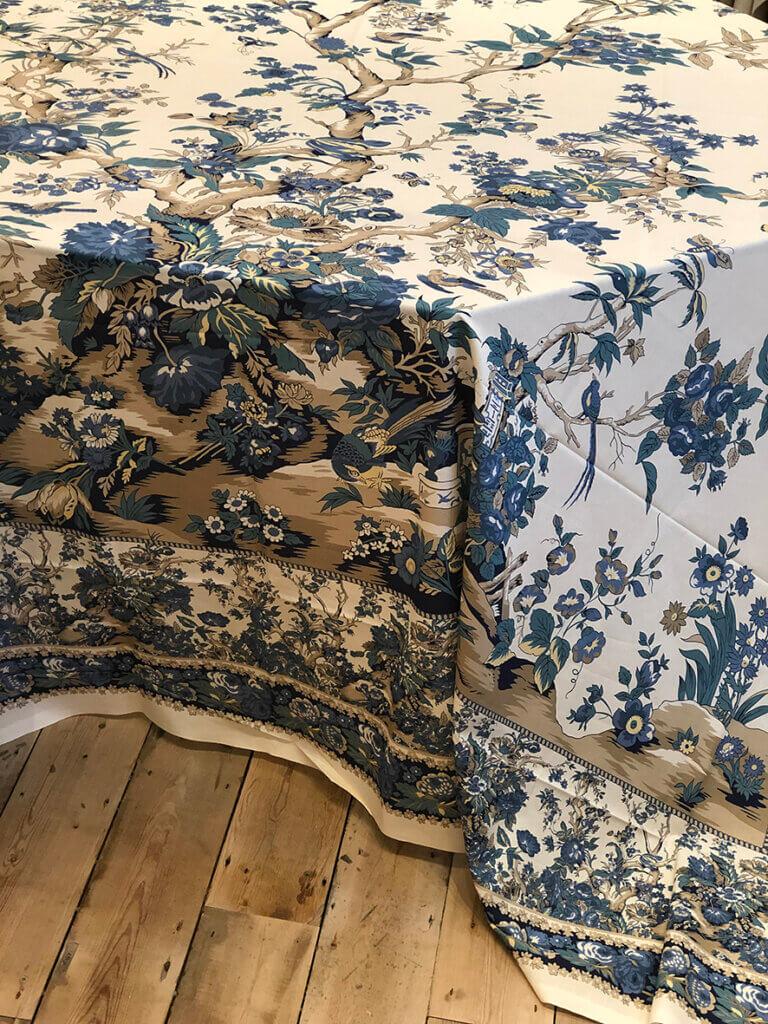 Blue-Caramel on Ecru Tablecloth.Vignette.Side WS