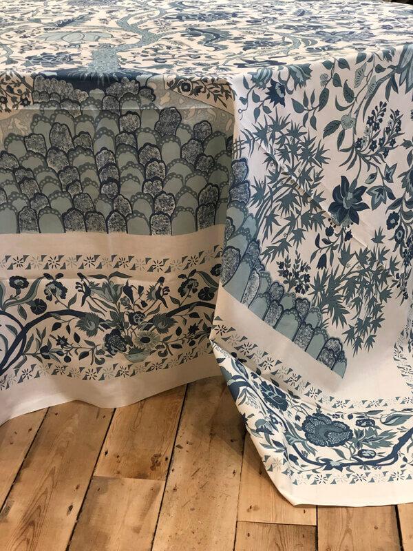 Dark Blue-Light Blue on Ivory Tablecloth.Vignette.Side WS