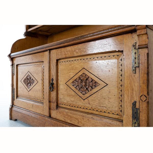 19thC Oak Open Bookcase – Bottom detail LR