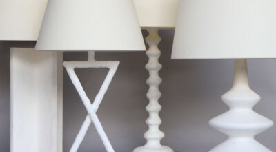 Montparnasse 3 White Table lamps grey background