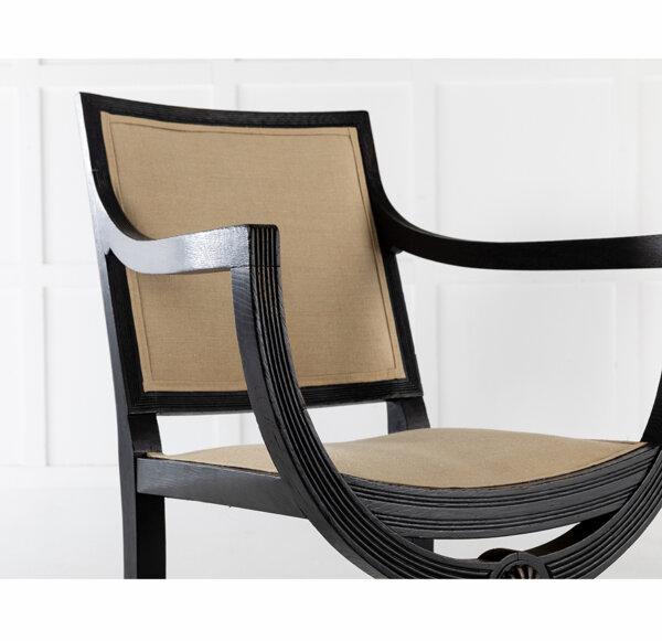 Pair of 19th C English Ebonized Armchairs 1 LR