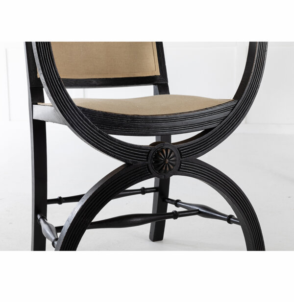 Pair of 19th C English Ebonized Armchairs 2 LR