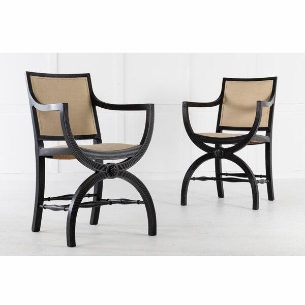 Pair of 19th C English Ebonized Armchairs 3 LR